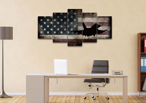 US Airforce Fighter Jet Airplane with American Flag Canvas Wall Art Painting home office