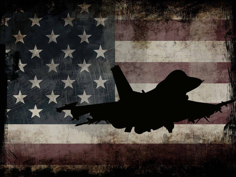 US Airforce Fighter Jet Airplane with American Flag Canvas Wall Art Painting Decor