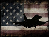 Image of US Airforce Fighter Jet Airplane with American Flag Canvas Wall Art Painting Decor
