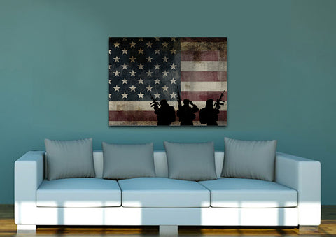 US Army Brotherhood with American Flag Wall Art Canvas Painting Decor