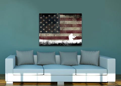 Soldier in Kneeling Position with American Flag Multi Panel Canvas Wall Art Painting Decor