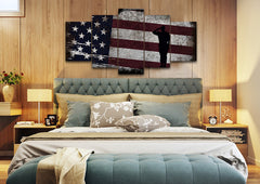 Soldier Saluting the American Flag Multi Panel Canvas Wall Art Painting Decor