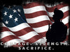 Image of Courage Strength Sacrifice American Flag Wall Art Canvas