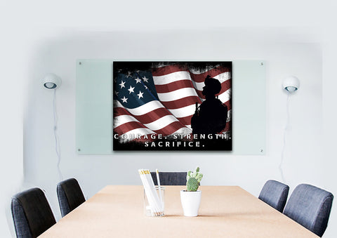 Courage Strength Sacrifice American Flag Wall Art Canvas