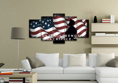 Courage Strength Sacrifice American Flag Wall Art 5 piece Canvas