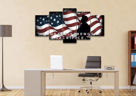 Courage Strength Sacrifice American Flag Wall Art set of 5 office Canvas