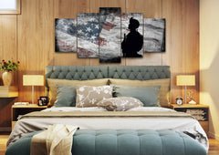 Respect to Our American Flag Multi Panel Canvas Wall Art Painting Decor