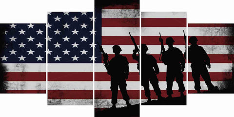 American Flag and 4 US Army Marines Wall Art Canvas Painting Decor multi panel