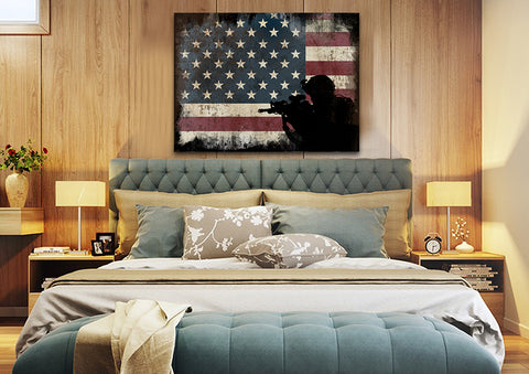 Soldier Ready to Protect the American Flag Multi Panel Canvas Wall Art Painting Decor