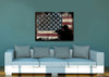 Image of Soldier Ready to Protect the American Flag Multi Panel Canvas Wall Art Painting Decor
