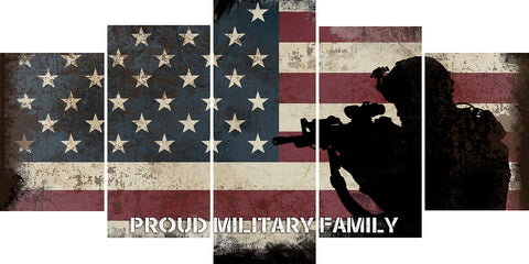 Proud Military Family with American Flag Patriotic Wall Art Canvas