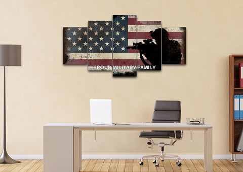 Proud Military Family with American Flag Patriotic Wall Art office Canvas