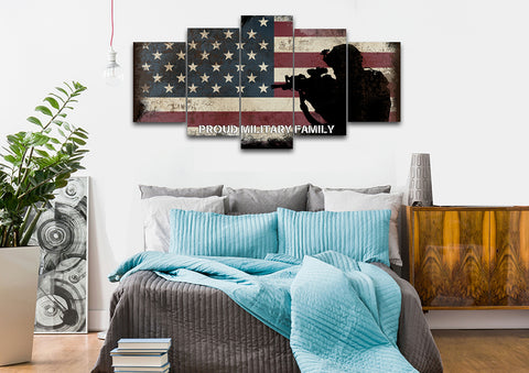Proud Military Family with American Flag Patriotic Wall Art bedroom Canvas