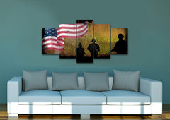 Army of Brothers with American Flag Multi Panel Canvas Wall Art Painting Decor