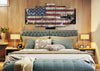 Image of American Flag with Brave Soldier Multi Panel Canvas Wall Art Painting Decor