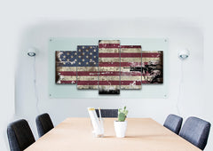American Flag with Brave Soldier Multi Panel Canvas Wall Art Painting Decor
