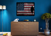 Image of Walking Soldier with Rustic American Flag Wall Art Canvas
