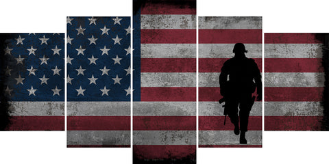 Walking Soldier with Rustic American Flag Wall Art Canvas