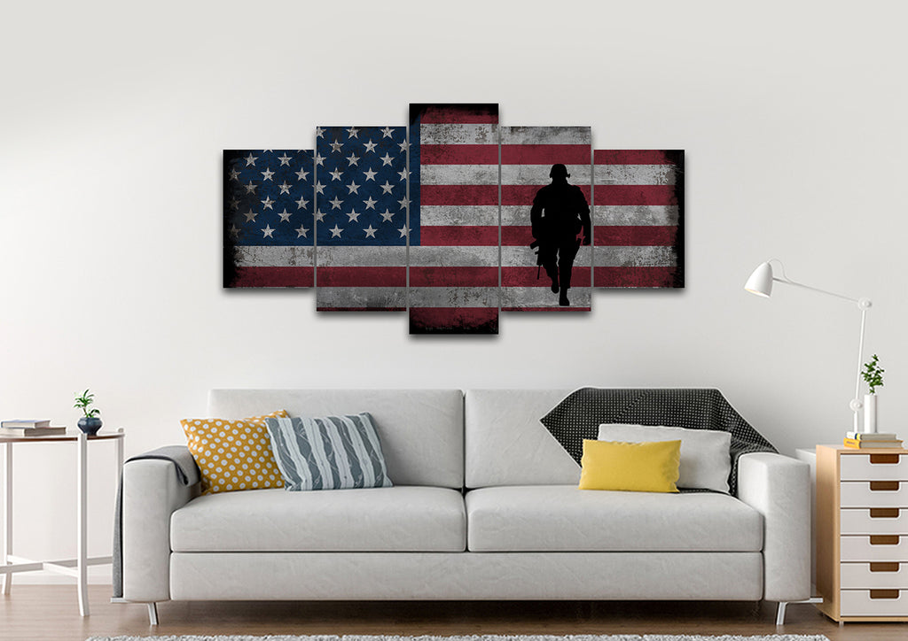Walking Soldier With Rustic American Flag Wall Art 5 Panel Living Room  Canvas ...