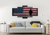 Image of Walking Soldier with Rustic American Flag Wall Art 5 panel living room Canvas