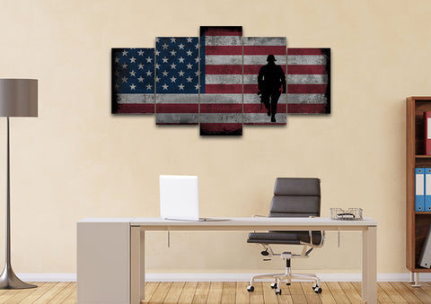 Walking Soldier with Rustic American Flag Wall Art set of 5 office Canvas