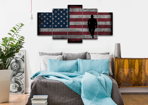 Walking Soldier with Rustic American Flag Wall Art 5 set bedroom Canvas
