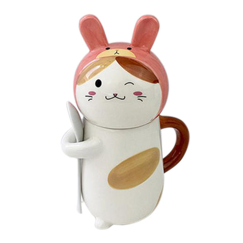 Cat Wearing Rabbit Hat Mug