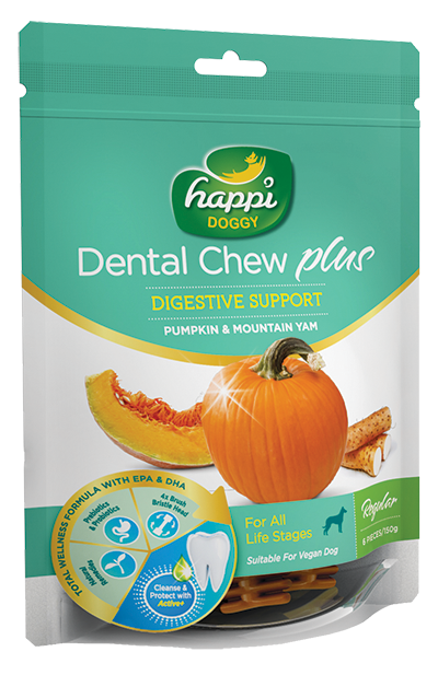 This premium range consists of 2 unique formulas aimed at countering common problems faced by most dogs : Skin, coat issues & digestive complications. Happi Doggy Singapore, Happi Doggy Dental Chew Singapore, The Fluffy Hut