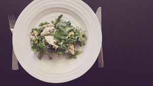 JULY RECIPE: POACHED CHICKEN AND EARLY SUMMER GREENS SALAD