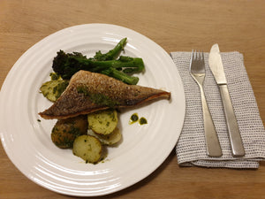 GRILLED HAKE WITH NEW POTATOES AND SALSA VERDE