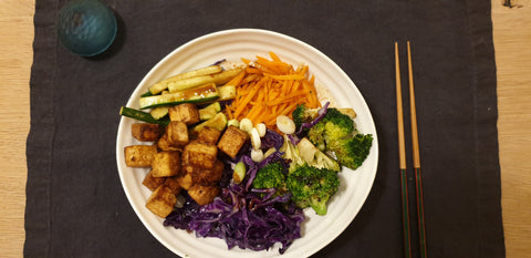 Tofu Bibimbap with spicy dressing