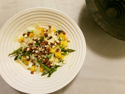 Golden beetroot asparagus and pea salad