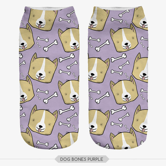 Low Cut Dog & Bones Printed Socks
