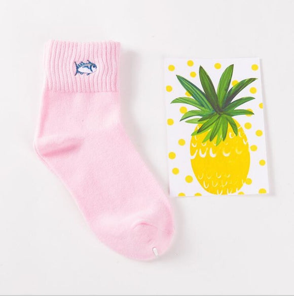 Mid Cut Fish Pink Embroidered Socks
