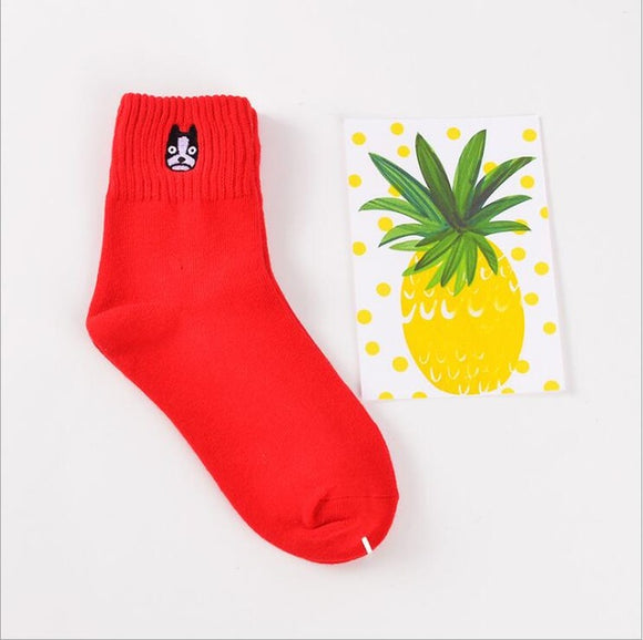 Mid Cut Dog Red Embroidered Socks
