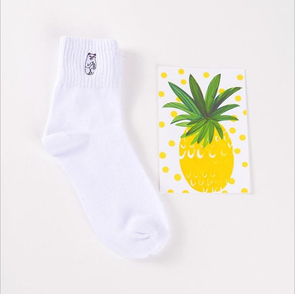 Mid Cut Animal White Embroidered Socks