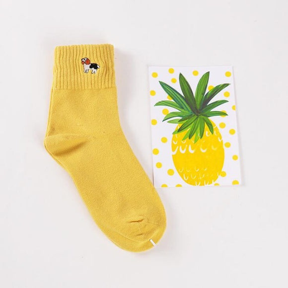 Mid Cut Embroidered Dog Embroidered Socks