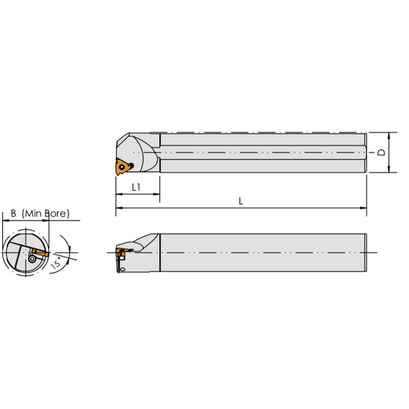 SIR 1216 11 Threading Tool For 11IR Inserts