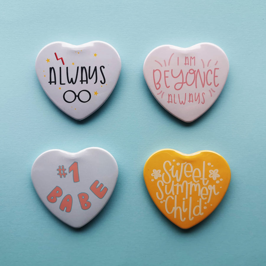 Heart Shaped Button Badges