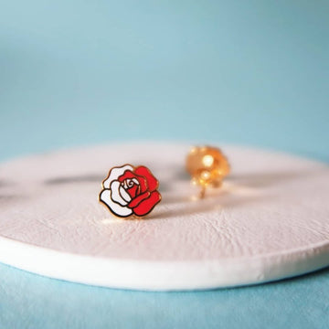 Painting the Roses Red 22k gold plated stud earrings