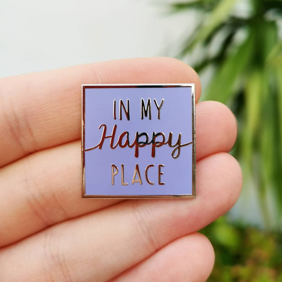 Purple Wall Happy Place Enamel Pin