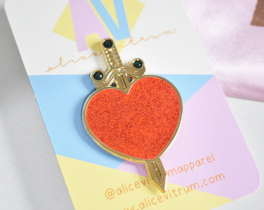 Heart Dagger Pin Brooch