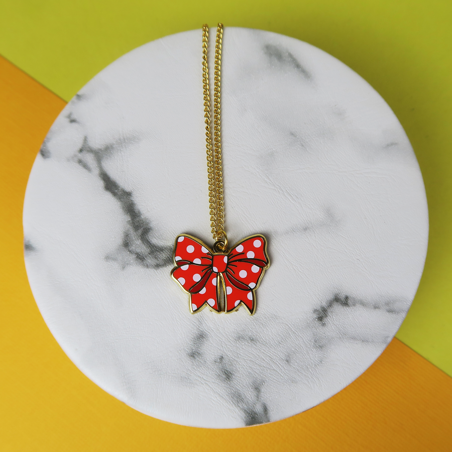 Polka Dot Bow Necklace