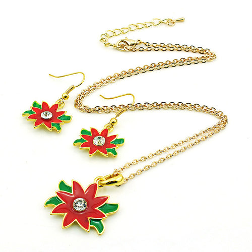 Beautiful Christmas Flower Oil Drop Pendant & matching Earrings