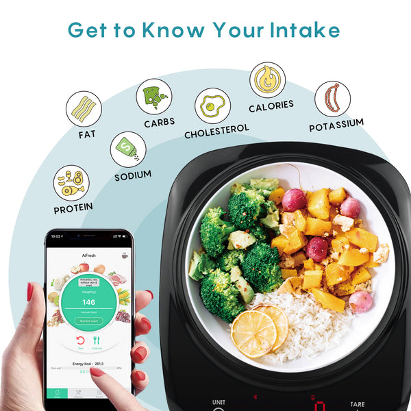 Smart Food Scalewith Nutritional Calculator Calorie Counting and Diary Nourish Tracker App