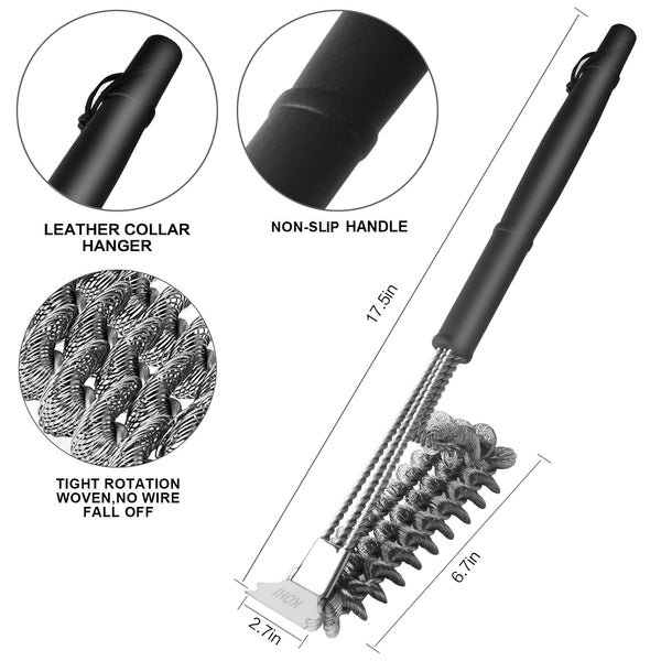 Stainless Steel Bristle Free Grill Brush and Scraper