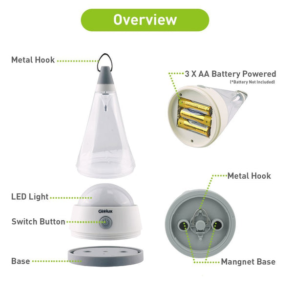 4 in 1 Versatile LED Camping Lantern Light Battery Operated  with Magnet Base