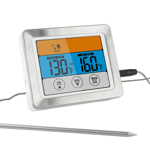 "Digital Meat Thermometer Timer with 3.2"" Large Color Touch Screen"