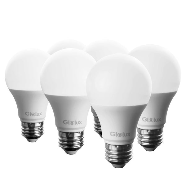 Glolux A19 Dimmable LED Light Bulb, 60 Watt Equivalent, E26 Base Daylight 5000K Pack of 6