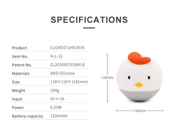 Portable Chicken Tumbler Silicone Night Light